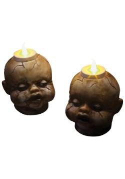 Cracked Dollhead Tealight Set