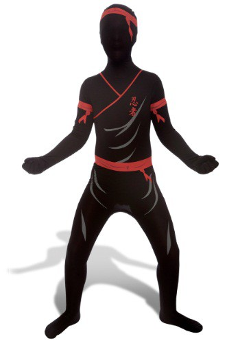 Kids Red and Black Ninja Costume Morphsuit