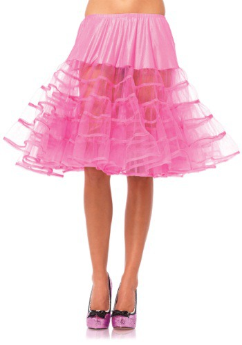 Womens Knee Length Pink Petticoat