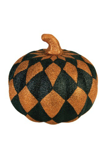 "8"" Orange And Black Harlequin Pumpkin"
