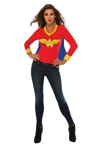 Womens Wonder Woman Sporty Tee w/ Cape Costume