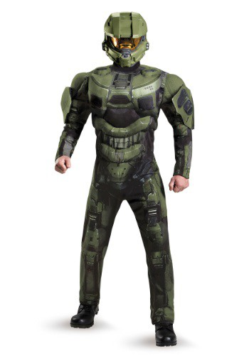 Click Here to buy Plus Size Deluxe Muscle Master Chief Costume from HalloweenCostumes, CDN Funds & Shipping