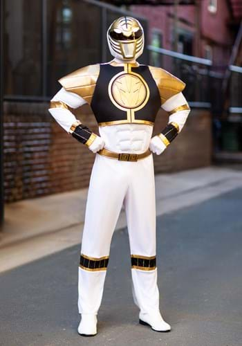 Click Here to buy White Ranger Classic Muscle Adult Costume from HalloweenCostumes, CDN Funds & Shipping