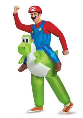 Click Here to buy Mario Riding Yoshi Adult Costume from HalloweenCostumes, CDN Funds & Shipping
