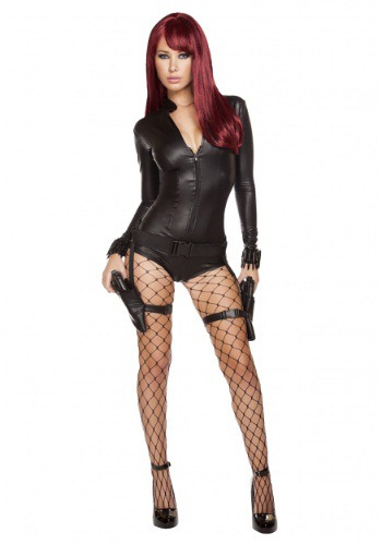 Click Here to buy Womens Hot Hitwoman Romper Costume from HalloweenCostumes, CDN Funds & Shipping