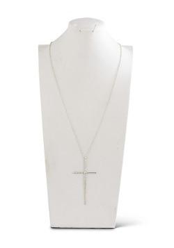 "Matte Silver Elongated Cross on 36"" Chain"