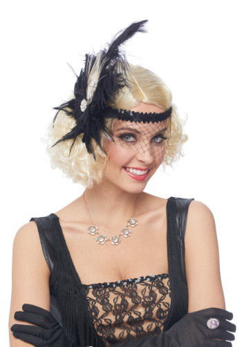 Click Here to buy Flapper Headpiece w/ Birdcage Veil from HalloweenCostumes, CDN Funds & Shipping