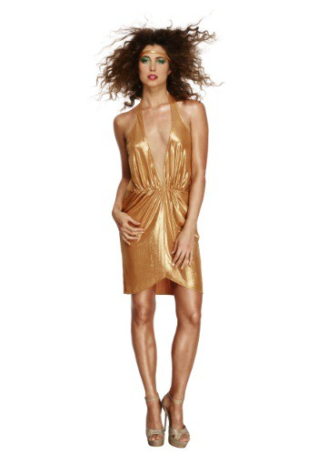 Woman's Gold 70's Disco Diva Costume