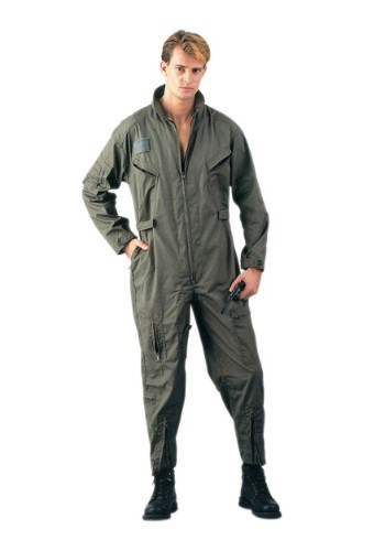 Click Here to buy Adult Olive Green Military Flightsuit Costume from HalloweenCostumes, CDN Funds & Shipping
