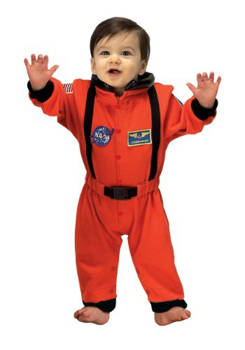 Click Here to buy Baby Orange Astronaut Romper Costume from HalloweenCostumes, CDN Funds & Shipping