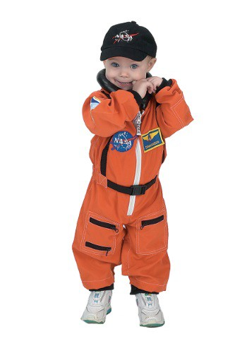Click Here to buy Toddler Orange Astronaut Romper Costume from HalloweenCostumes, CDN Funds & Shipping