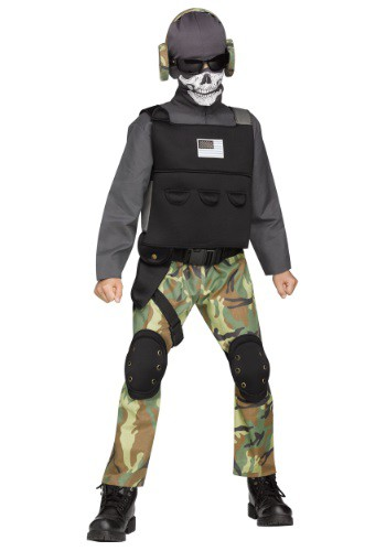 Click Here to buy Boys Skull Soldier Costume from HalloweenCostumes, CDN Funds & Shipping