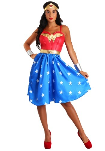 Click Here to buy Adult Deluxe Long Dress Wonder Woman Costume from HalloweenCostumes, CDN Funds