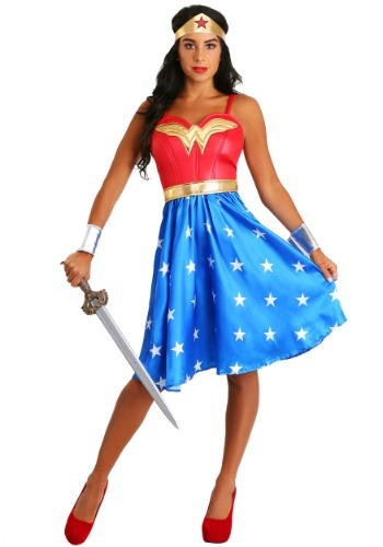Deluxe Plus Size Long Dress Wonder Woman Costume-update1