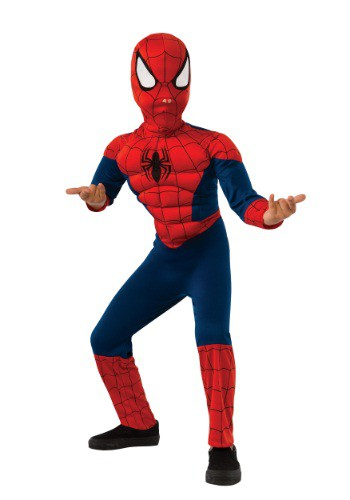 Click Here to buy Kids Ultimate Spider-Man Muscle Chest Costume from HalloweenCostumes, CDN Funds & Shipping