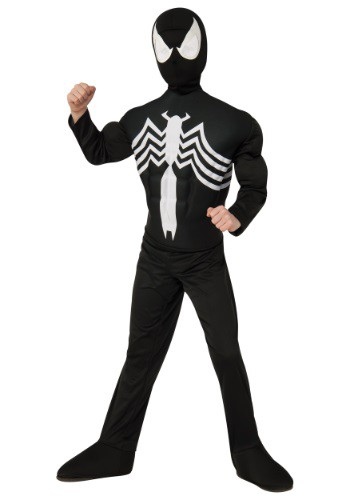 Click Here to buy Kids Ultimate Black Spider-Man Muscle Chest Costume from HalloweenCostumes, CDN Funds & Shipping