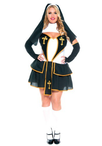 Click Here to buy Womens Plus Size Flirty Nun Costume from HalloweenCostumes, CDN Funds & Shipping