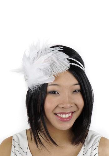 White Flapper Headband with Rhinestones