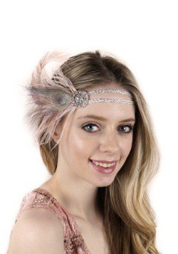 Beige Flapper Headband with Rhinestones