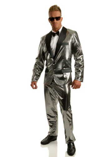 Click Here to buy Mens Silver Disco Ball Tuxedo Costume from HalloweenCostumes, CDN Funds & Shipping
