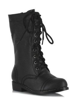 Kids Black Military Boots