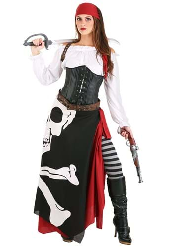 Plus Size Womens Skeleton Flag Rogue Pirate Costume