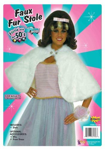 Women's White Faux Fur Stole