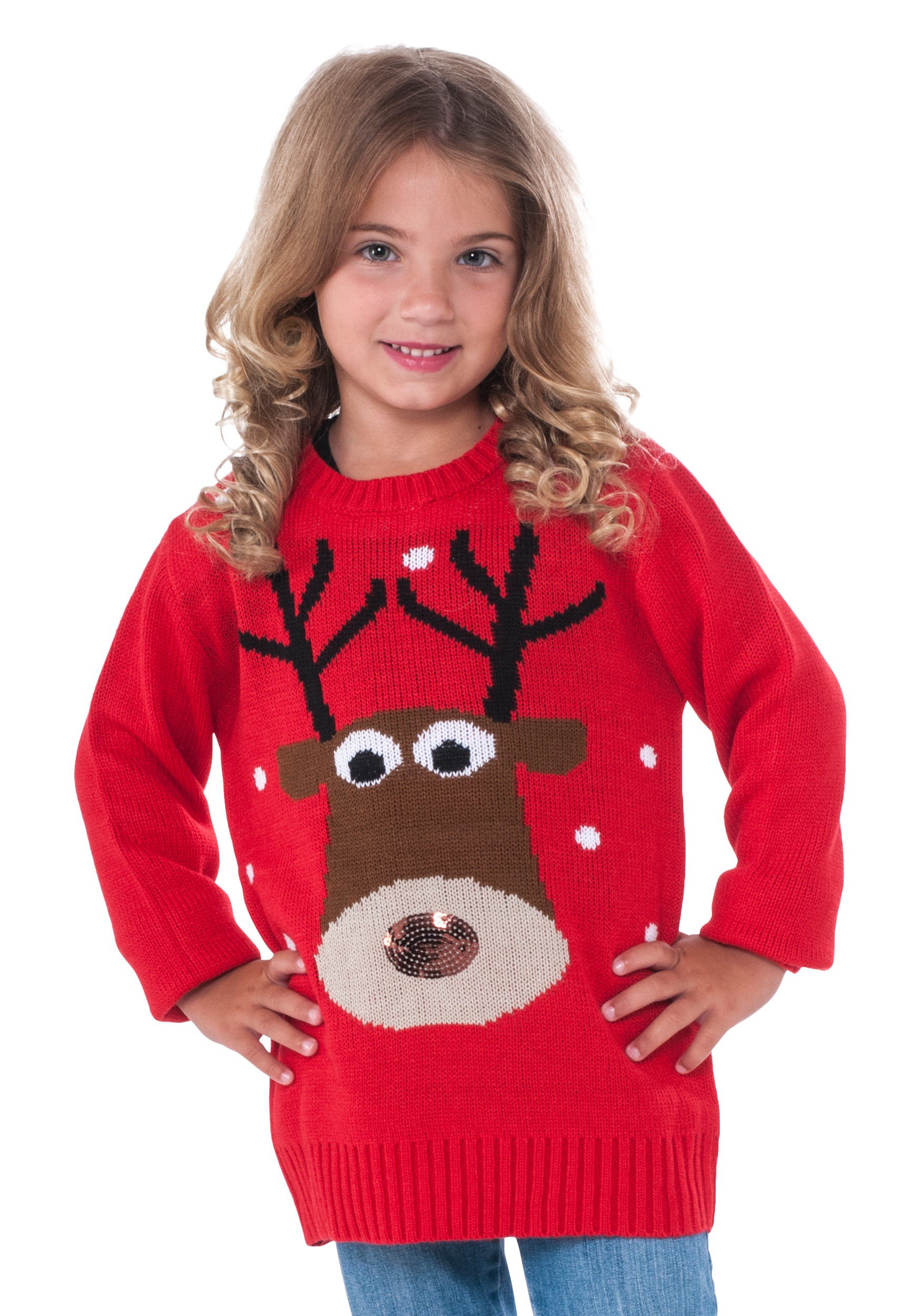 0021137e9a038b Child Reindeer Ugly Christmas Sweater