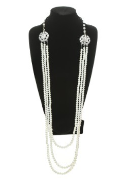 Pearl and Rhinestone Flapper Necklace