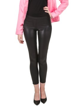 Plus Size Black Shiny Leggings w/ Faux Front Fly
