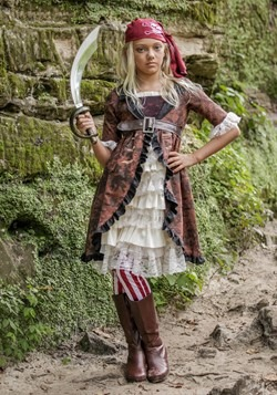 Girl's Brown Coat Pirate Costume