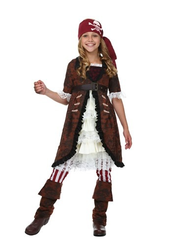 Girls Brown Coat Pirate Costume