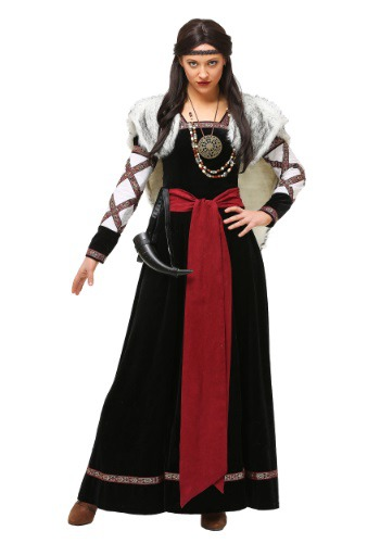 Womens Plus Size Dark Viking Dress Costume