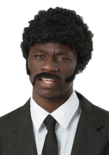 Adult Pulp Fiction Jules Winnfield Wig and Facial Hair Set