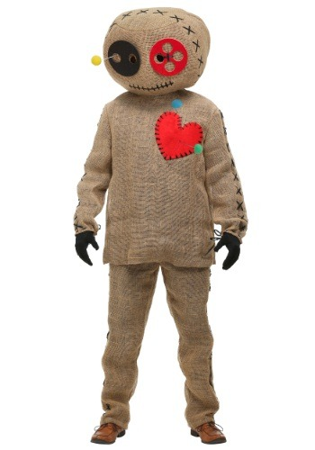 Click Here to buy Adult Burlap Voodoo Doll Plus Size Costume from HalloweenCostumes, CDN Funds & Shipping