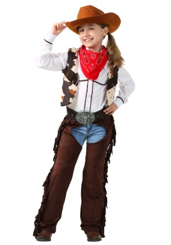 Click Here to buy Kids Cowgirl Chaps Costume from HalloweenCostumes, CDN Funds & Shipping