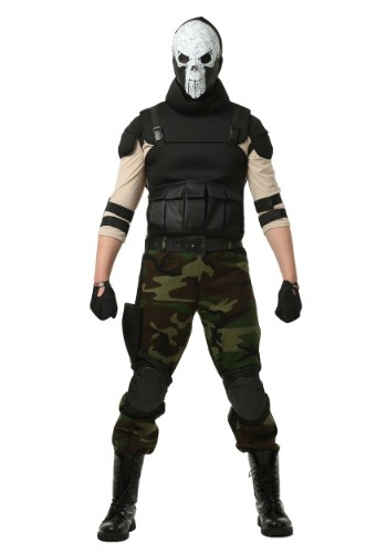 Skull Military Man Costume for Plus Size Men