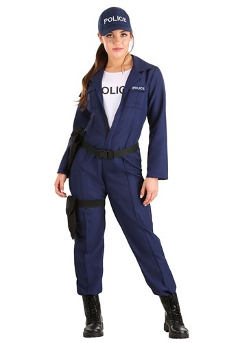 Womens Plus Size Tactical Cop Jumpsuit Costume