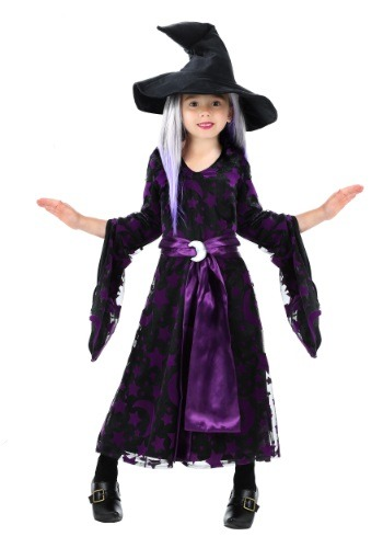 Click Here to buy Toddler Girls Purple Moon Witch Costume from HalloweenCostumes, CDN Funds & Shipping