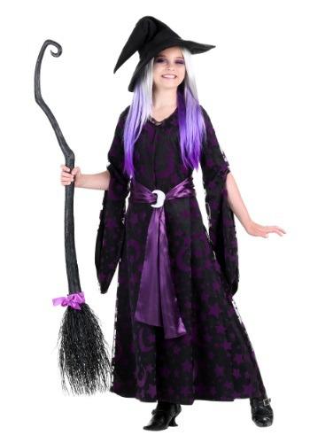 Girls Purple Moon Witch Costume