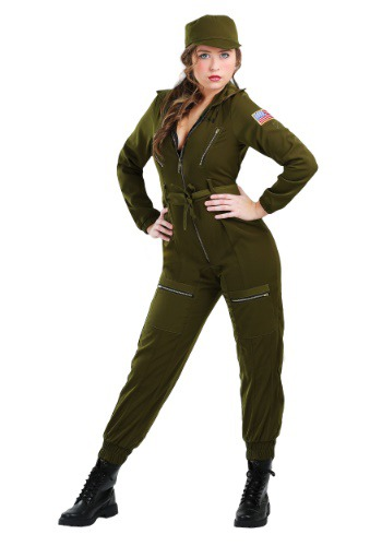 Army Flightsuit Costume for Plus Size Women