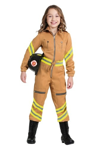 Click Here to buy Tan Firefighter Jumpsuit Girls Costume from HalloweenCostumes, CDN Funds & Shipping