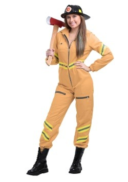 Womens Plus Tan Firefighter Jumpsuit