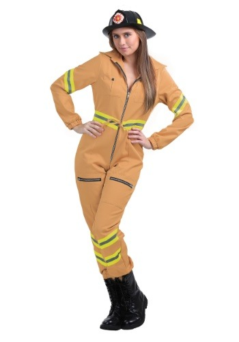 Tan Firefighter Jumpsuit Costume in Womens Plus Size