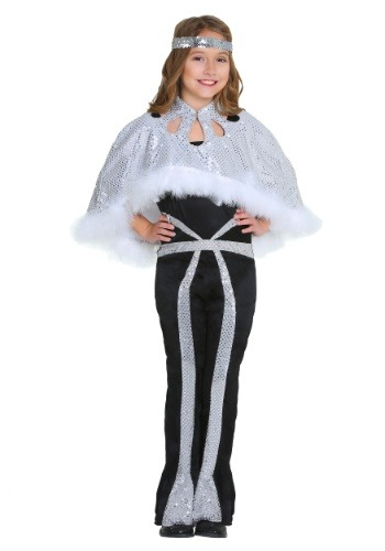 Click Here to buy Dazzling Silver Disco Girls Costume from HalloweenCostumes, CDN Funds & Shipping
