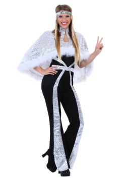 Plus Size Women's Dazzling Silver Disco Costume