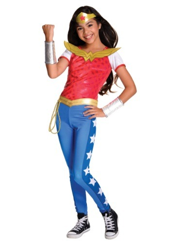 Click Here to buy DC Superhero Girls Deluxe Wonder Woman Costume from HalloweenCostumes, CDN Funds & Shipping