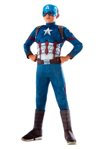 Click Here to buy Captain America Deluxe Kids Costume from HalloweenCostumes, CDN Funds & Shipping