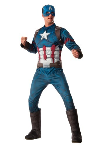 Click Here to buy Mens Deluxe Civil War Captain America Costume from HalloweenCostumes, CDN Funds & Shipping