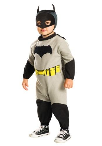 Click Here to buy Toddler Batman Fleece Romper Costume from HalloweenCostumes, CDN Funds & Shipping